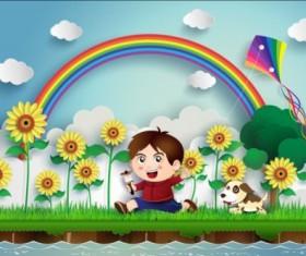 Sunflower and boy with rainbow vector