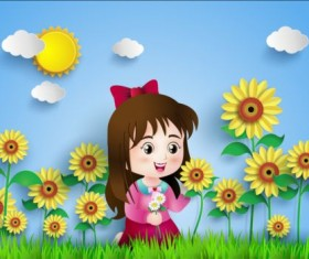 Sunflower and girl vector