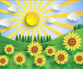 Sunflower and sun with forest vector
