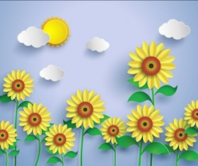 Sunflower and white cloud vector