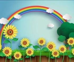 Sunflower with rainbow vector