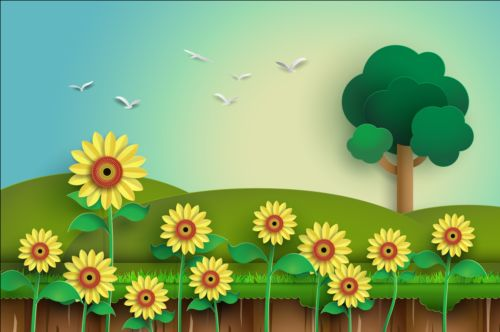 Sunflower with tree vector material