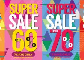 Supe sale banner vector material