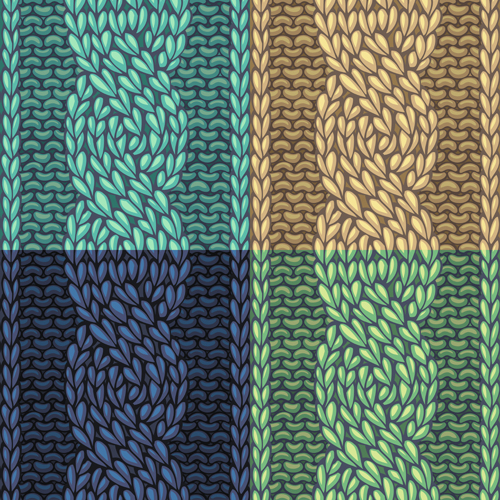Textures knitted pattern set vector 05