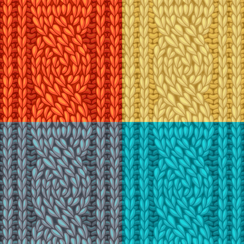 Knitting Pattern Vector Download : Textures knitted pattern set vector 06 - Vector Pattern ...