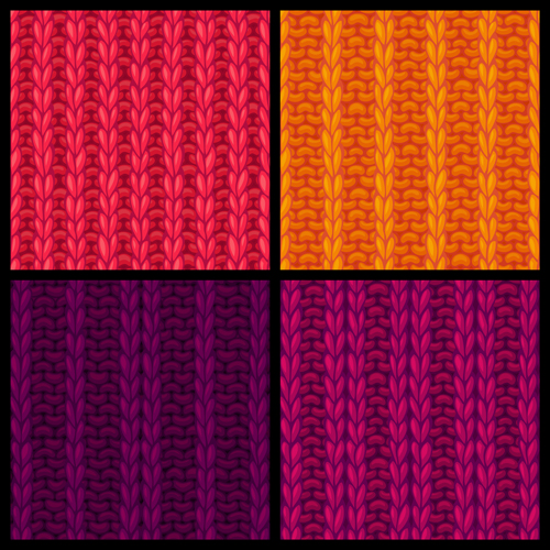 Textures knitted pattern set vector 07 free download