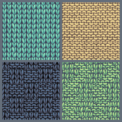 Textures knitted pattern set vector 08