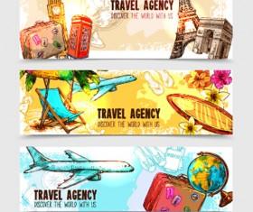 Travel agency banner hand drawn vector