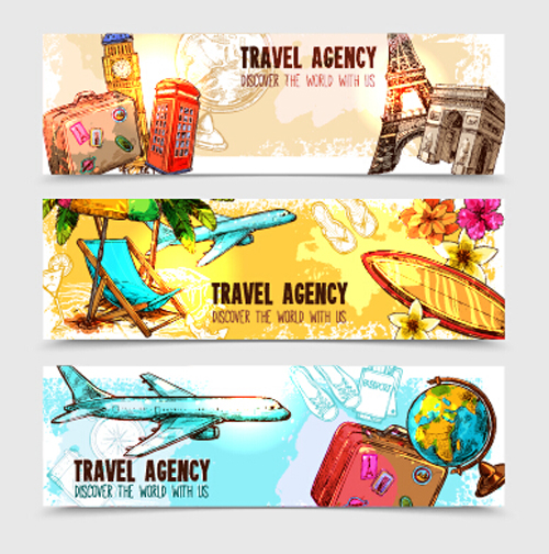 Travel Agency Banner Hand Drawn Vector Vector Banner