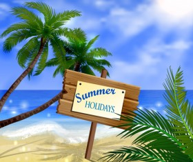 Tropical beach with summer holiday vector 01