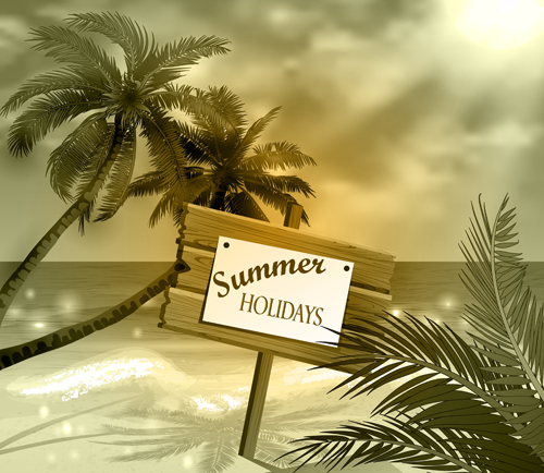 Tropical beach with summer holiday vector 02