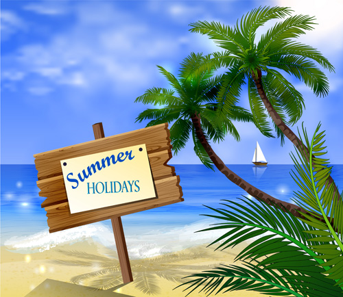Tropical beach with summer holiday vector 03