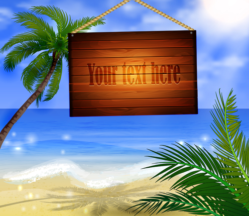 Tropical beach with summer holiday vector 04