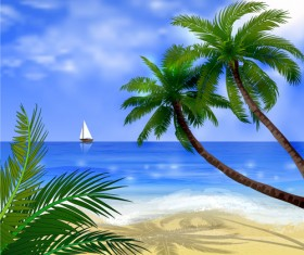 Tropical beach with summer holiday vector 06