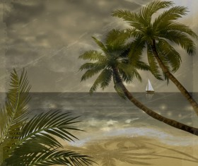 Tropical beach with summer holiday vector 07