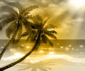 Tropical beach with summer holiday vector 09