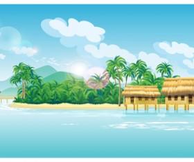 Tropical island scenery vector