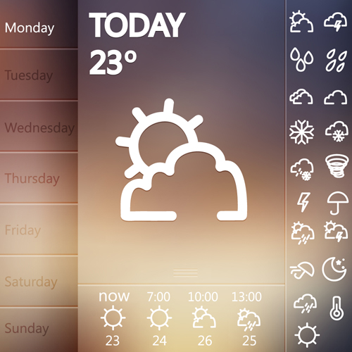 UI weather widgets vector material 01