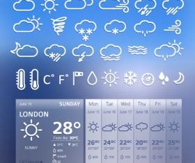 UI weather widgets vector material 03