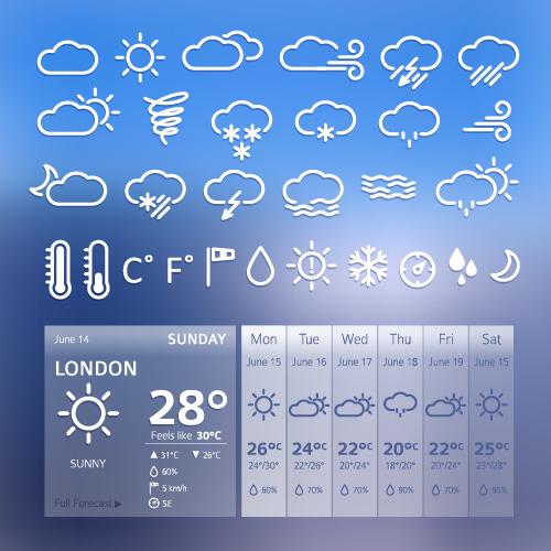UI weather widgets vector material 03 free download