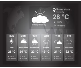 UI weather widgets vector material 04