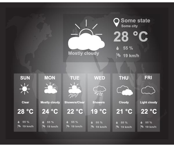 UI weather widgets vector material 04