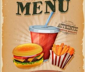 Vintage fast food poster design vector 10