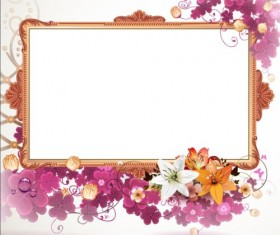 Vintage flower with frame backgrounds vector 04