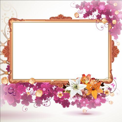 vintage flower with frame backgrounds vector 04 free download
