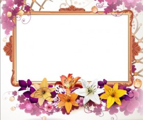 Vintage flower with frame backgrounds vector 05