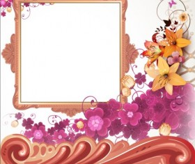 Vintage flower with frame backgrounds vector 06