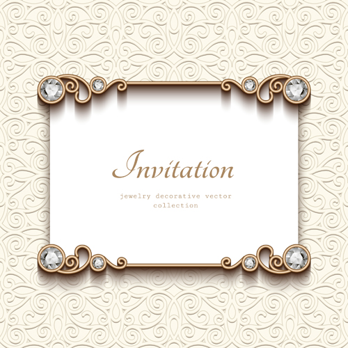 Vintage golden frames with diamond invitation vector 01 vector vintage golden frames with diamond invitation vector 01 stopboris Image collections