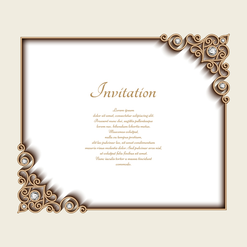 Vintage golden frames with diamond invitation vector 03 vector vintage golden frames with diamond invitation vector 03 stopboris Image collections