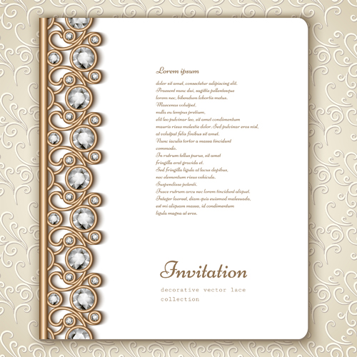 Vintage golden frames with diamond invitation vector 04 vector vintage golden frames with diamond invitation vector 04 stopboris Image collections