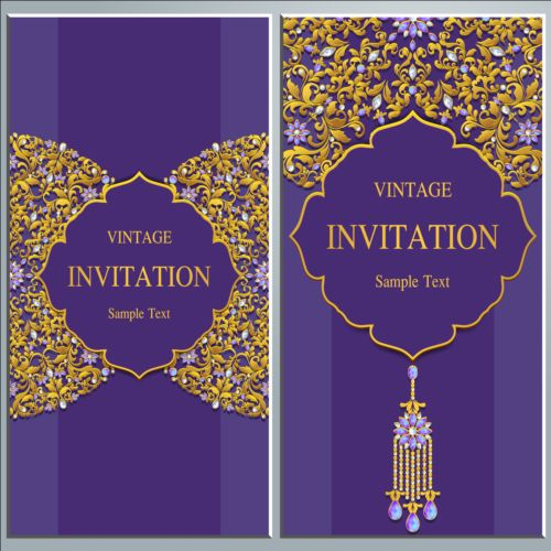 Vintage Invitation Cards With Jewelry Decor Vector 01 Free