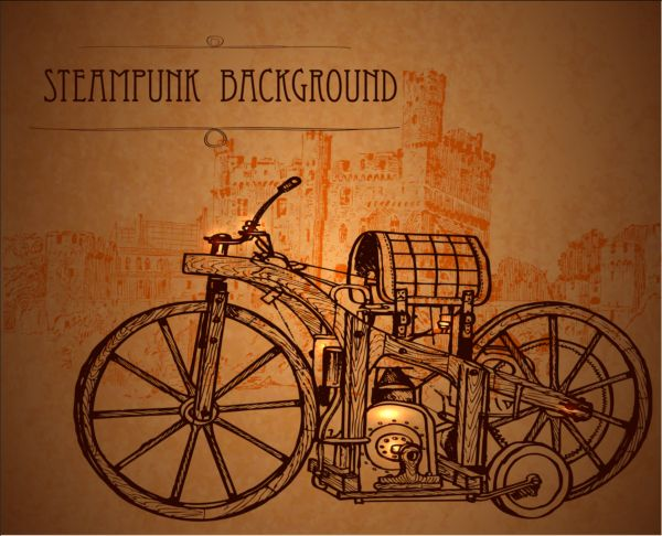 Vintage steampunk background design vector 02