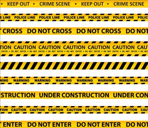 Warning caution ribbon vector material 03