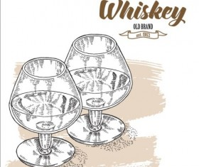 Whiskey with glass cup hand drawn vector 01