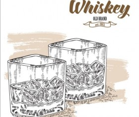 Whiskey with glass cup hand drawn vector 02