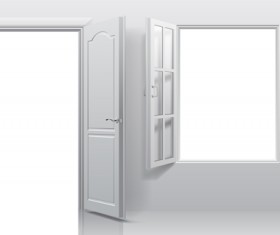 White doors with window vector template