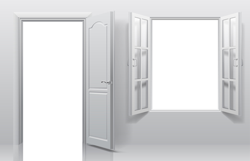 White doors with window vector template & White doors with window vector template - Vector Life free download