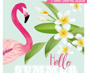 White flower background with flamingo vector 01