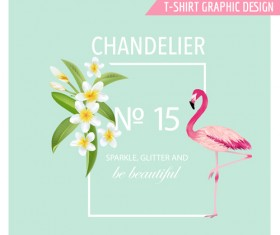 White flower background with flamingo vector 02