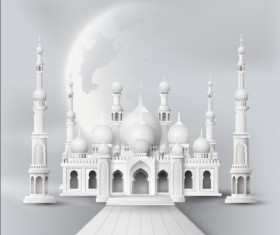 White mosque with moon background vector