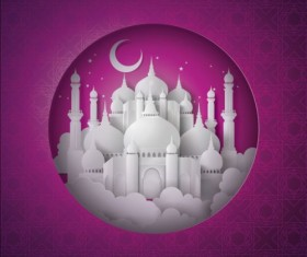 White mosque with purple ramadan kareem background vector 01