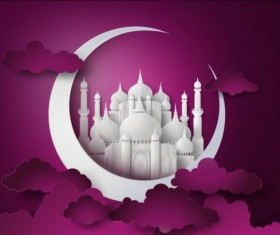 White mosque with purple ramadan kareem background vector 02