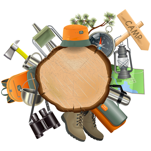 Wooden doard with camping accessories vector