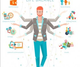Work and life balance vector template 04
