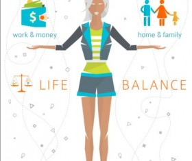 Work and life balance vector template 05
