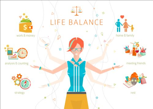 Work and life balance vector template 06